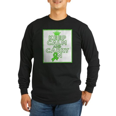 Lymphoma Keep Calm Carry On Long Sleeve Dark T-Shi