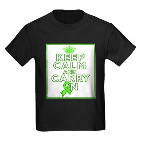Lymphoma Keep Calm Carry On Kids Dark T-Shirt