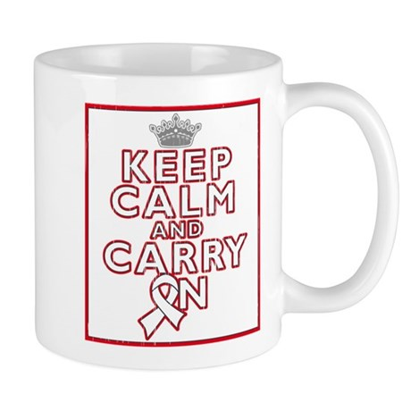 Lung Cancer Keep Calm Carry On Mug