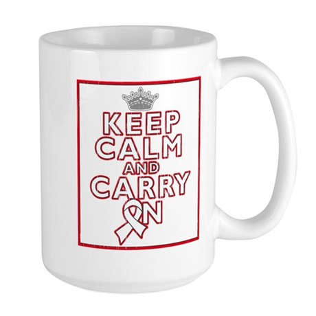 Lung Cancer Keep Calm Carry On Large Mug