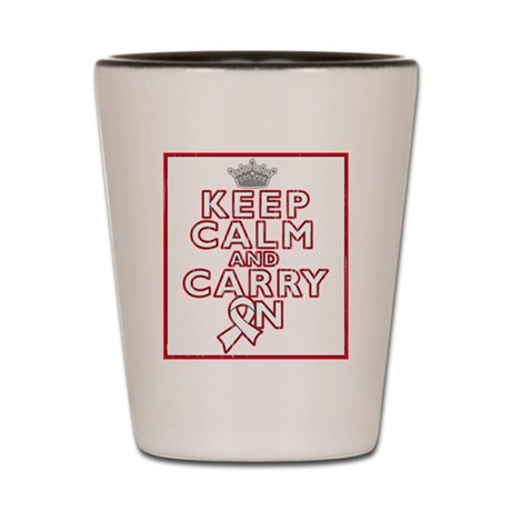 Lung Cancer Keep Calm Carry On Shot Glass
