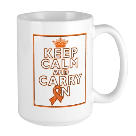 Leukemia Keep Calm Carry On Large Mug