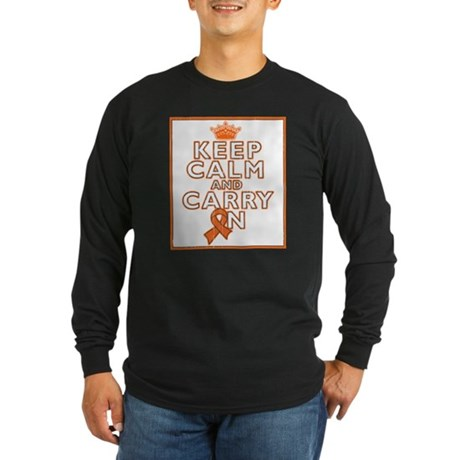 Kidney Cancer Keep Calm Long Sleeve Dark T-Shirt