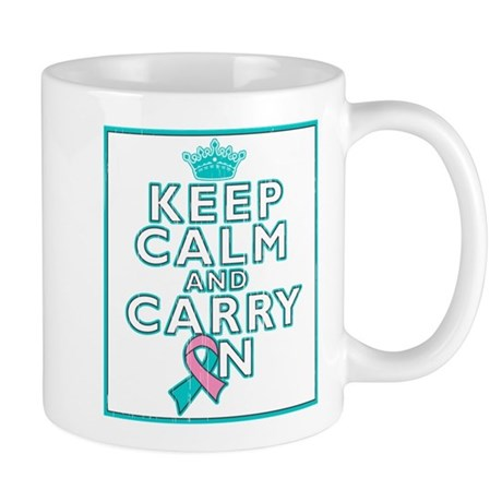 Hereditary Breast Cancer Keep Calm Carry On Mug