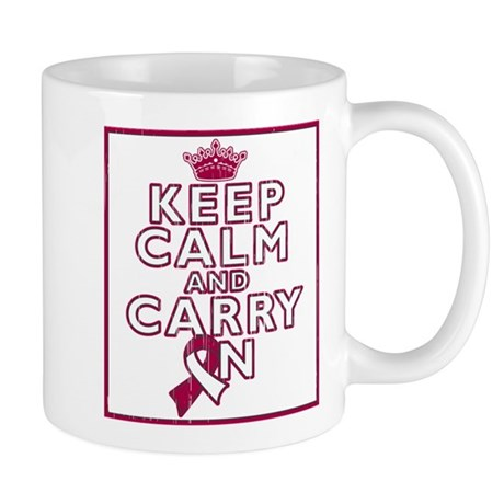 Head Neck Cancer Keep Calm Carry On Mug