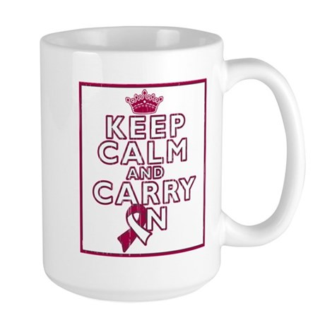 Head Neck Cancer Keep Calm Carry On Large Mug