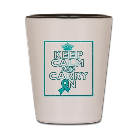 Gynecologic Cancer Keep Calm Carry On Shot Glass