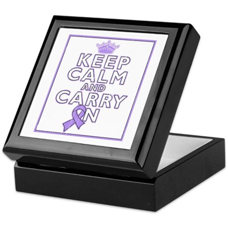 General Cancer Keep Calm Carry On Keepsake Box