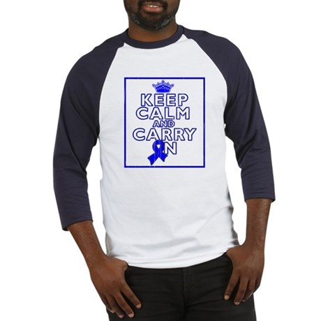 Colon Cancer Keep Calm Carry On Baseball Jersey