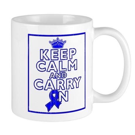 Colon Cancer Keep Calm Carry On Mug