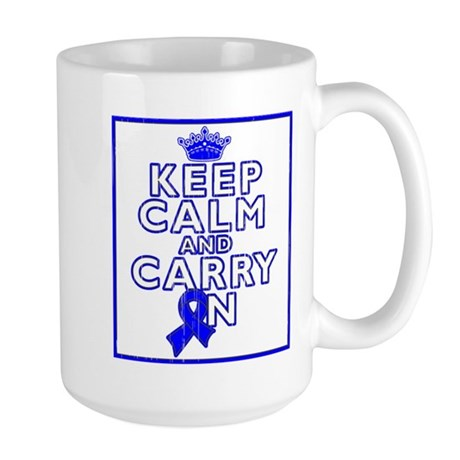 Colon Cancer Keep Calm Carry On Large Mug