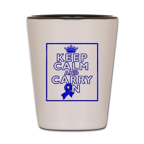 Colon Cancer Keep Calm Carry On Shot Glass