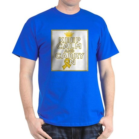 Childhood Cancer Keep Calm Dark T-Shirt