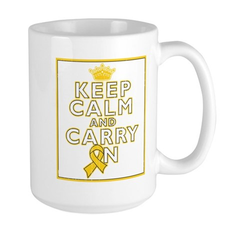 Childhood Cancer Keep Calm Large Mug