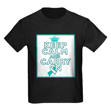 Cervical Cancer Keep Calm Carry On Kids Dark T-Shi