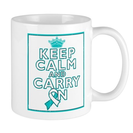 Cervical Cancer Keep Calm Carry On Mug