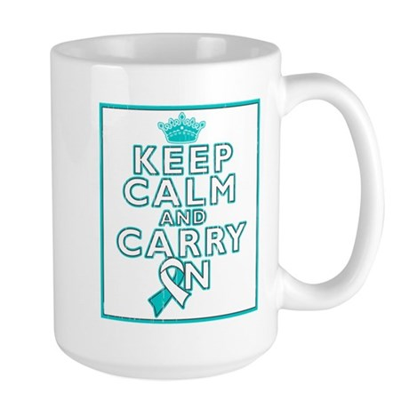 Cervical Cancer Keep Calm Carry On Large Mug