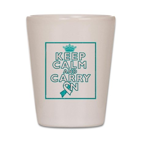 Cervical Cancer Keep Calm Carry On Shot Glass