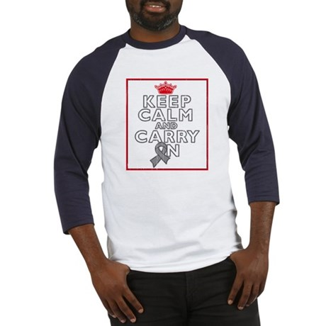 Brain Tumor Keep Calm Carry On Baseball Jersey