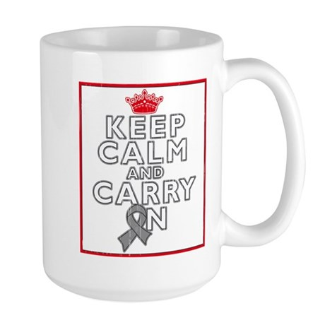 Brain Tumor Keep Calm Carry On Large Mug
