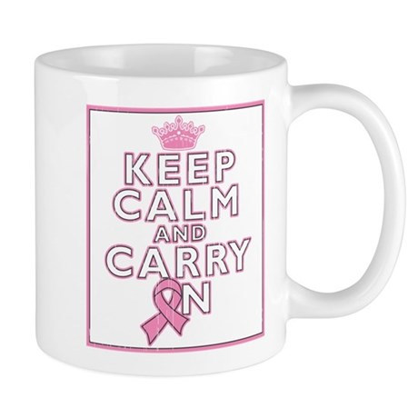 Breast Cancer Keep Calm Carry On Mug