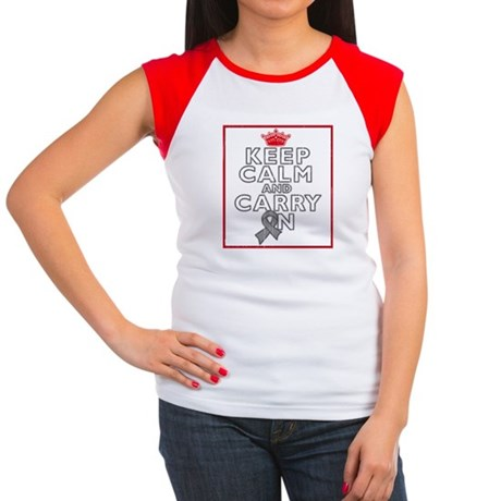 Brain Cancer Keep Calm Women's Cap Sleeve T-Shirt