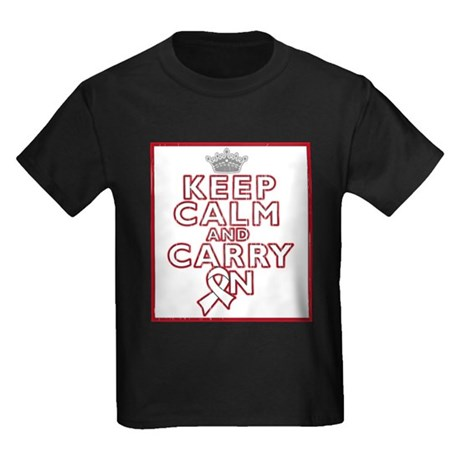 Bone Cancer Keep Calm Carry On Kids Dark T-Shirt