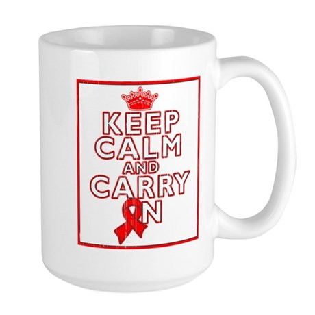 Blood Cancer Keep Calm Carry On Large Mug