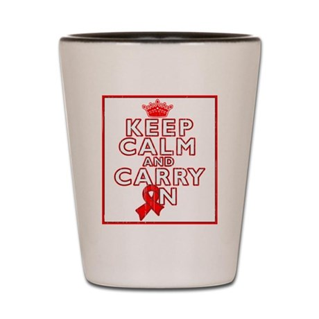 Blood Cancer Keep Calm Carry On Shot Glass