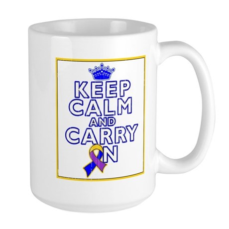 Bladder Cancer Keep Calm Carry On Large Mug