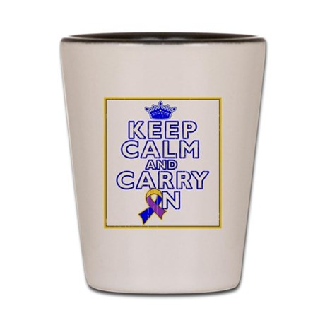 Bladder Cancer Keep Calm Carry On Shot Glass