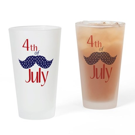 mustache 4th of july glass
