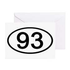 Number 93 Oval Greeting Cards (Pk of 10)
