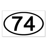 Number 74 Oval Rectangle Sticker