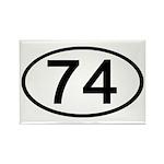 Number 74 Oval Rectangle Magnet (100 pack)