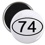 Number 74 Oval Magnet