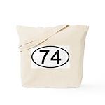 Number 74 Oval Tote Bag
