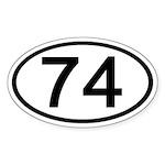 Number 74 Oval Oval Sticker