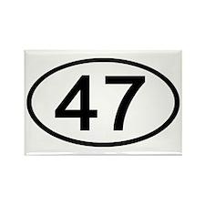 Number 47 Oval Rectangle Magnet (100 pack)