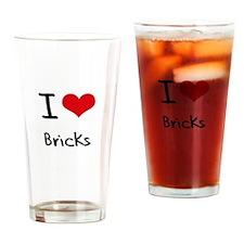 I Love Bricks Drinking Glass