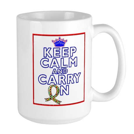 Autism Keep Calm Carry On Large Mug