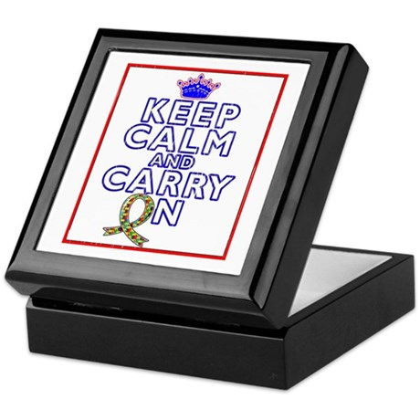 Autism Keep Calm Carry On Keepsake Box