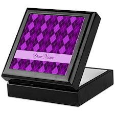 Purple Argyle - Personalized! Keepsake Box