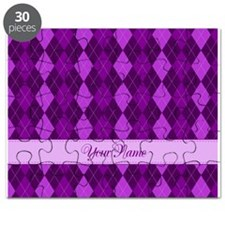 Purple Argyle - Personalized! Puzzle