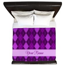 Purple Argyle - Personalized! King Duvet