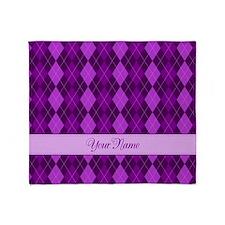 Purple Argyle - Personalized! Throw Blanket