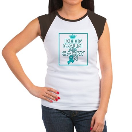 PKD Keep Calm Carry On Women's Cap Sleeve T-Shirt