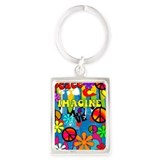 Retro Peace Art VERTICAL Keychains