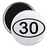 Number 30 Oval Magnet