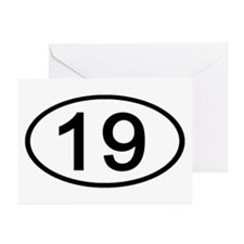 Number 19 Oval Greeting Cards (Pk of 10)